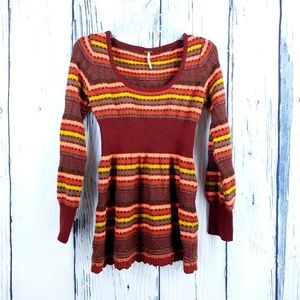 Free People | Striped Fitted Sweater Sz L